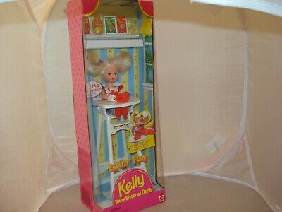 Vintage 1997 Kelly Eatin/' Fun Baby Sister of Barbie In High Chair Lifts Cup NRFB