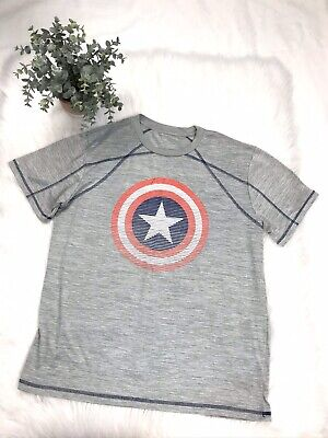 Marvel Captain America with Hood Short Sleeve T-Shirt Removable Shield New