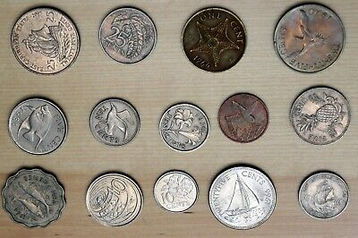 Caribbean Lot of 14 Different Coins - Fish Ships Birds Plants Animals