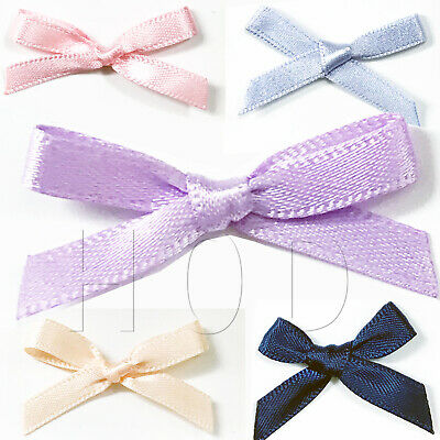 Satin Ribbon Bows Small 2cm x 3.5cm Pre Tied Wedding Card Making Sewing Crafts