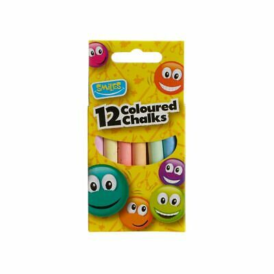 Pack of 12 Chalks Assorted Coloured Chalk Sticks School Art Blackboard