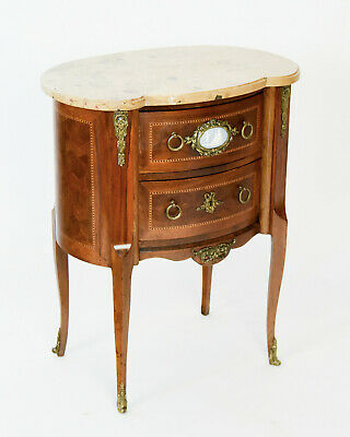 Louis XVI Style Marble Top End Table Nightstand with Mounted Jasperware Plaque