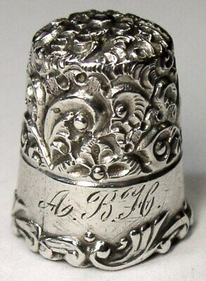 """Antique Ketcham & McDougall Sterling Silver Thimble  """"Embroidery""""  """"ABH""""  C1890s"""