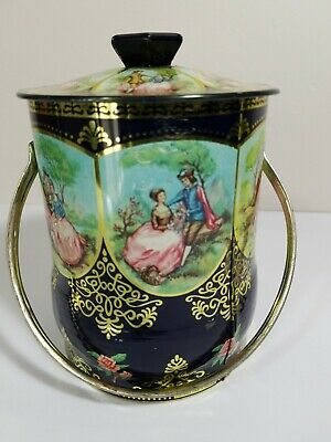 Vintage decorative tin with lid and handle - Made in England