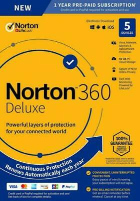 NORTON 360 DELUXE SECURITY 2020 - 5 PC DEVICES -  WITH SECURE VPN - Download