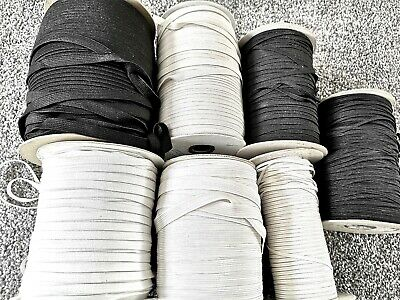2 M GOOD QUALITY FLAT WOVEN ELASTIC BLACK WHITE 3mm 4mm 6mm 8mm 10mm 12mm 18mm