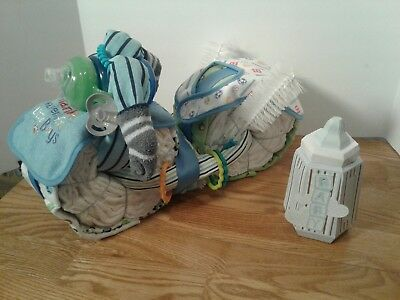 Motorcycle Diaper Cake Boy Centerpiece Baby Shower Gift Blue Baseball