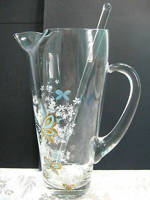 Vintage Martini Pitcher Cocktail Barware Aqua Blue Gold Butterfly And Stirrer