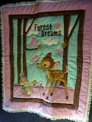 Bambi, Thumper & Friends Homemade 3-D Quilted Baby Quilt  35 X 42