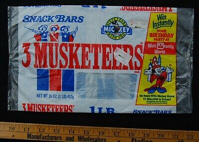 [ 1980s 3 MUSKETEERS CANDY BAR BAG - Vintage Food Packaging / Mickey Mouse ]