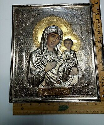 Antique quality Russian Orthodox Icon of Mother of God- Smolensk w/ silver riza