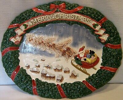 """Fitz And Floyd Night Before Christmas Large Platter  """"Merry Christmas"""""""