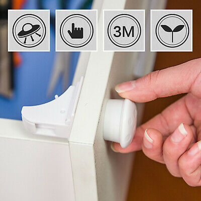 *Invisible Magnetic Baby Child Pet Proof Cupboard Door Drawer Safety Lock Catch*