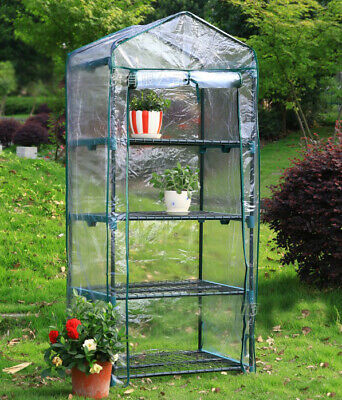 4 Tier Small Greenhouse Bag Garden Plant Cover Clear PVC Plastic Growbag Box UK