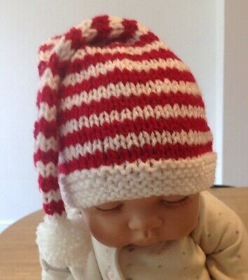 6-12M,12-18M RED TIE-UP HAND KNITTED BABY BONNET HAT BEANIE PIXIE 0-3M  3-6M