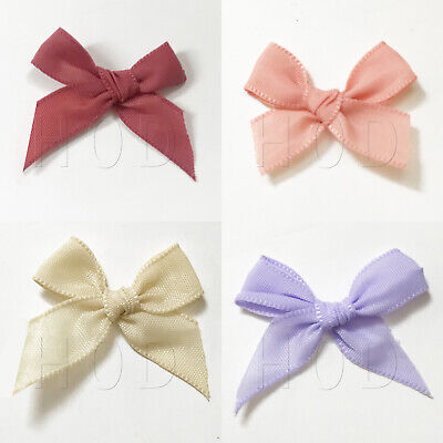Satin Ribbon Bows Small 2cm x 3cm Pre Tied Wedding Card Making Sewing Crafts 9mm