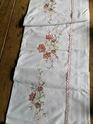 Vintage French White Cotton sheet Pink Embroidery Unused Double Bed 3mLx2m20W