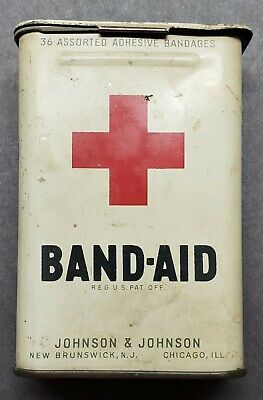 Vintage 1940's Band-Aid Hinged Metal Johnson & Johnson TIn WWII EARLY BAND AID