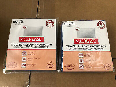 Lot of 2 Allerease Zippered Travel Pillow Protectors 14 X 20  White