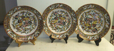 3 Antique Chinese Plates Bowls With Enamel Thousand Butterflies Pattern As Is
