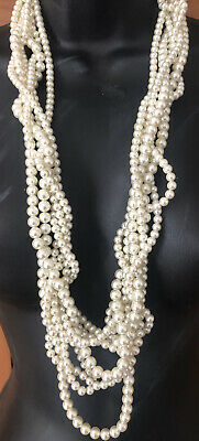 """Lee Angel Logo Fabulous 32"""" Twisted 6 Strand Faux Pearl Necklace Neiman Marcus"""