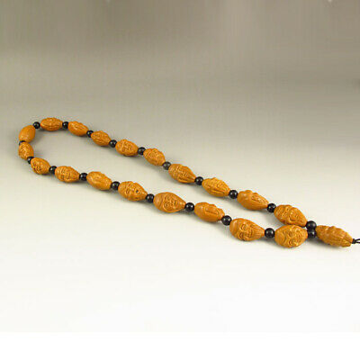 Chinese Olive Nut Carved Arhat Necklace