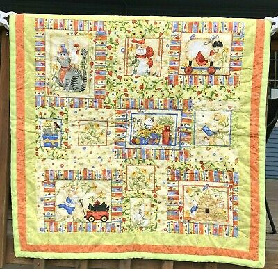Handmade Quilt Baby Blanket Cat Farm Girls Nursery Patchwork Kitten Kitty Green