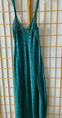 Victorias Secret Green Sexy Long Night Gown Lingerie, Sequins & Lace Cups - Sz L