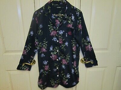 Ralph Lauren Womens Large Night Shirt Pajama Monogram Lilac Floral on Navy EUC