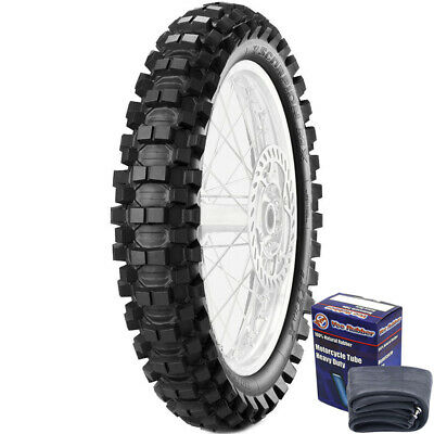 Pirelli MX Extra X 100/100-18 Mid Rear Tyre & Vee Rubber Tube Set
