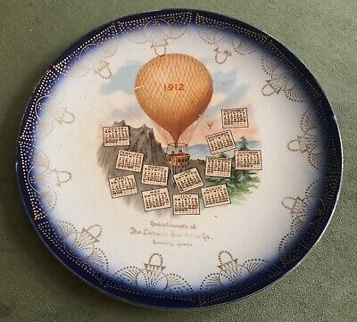 Vintage Antique 1912 Advertising Calendar Plate Loowis Brothers Hot Air Balloon