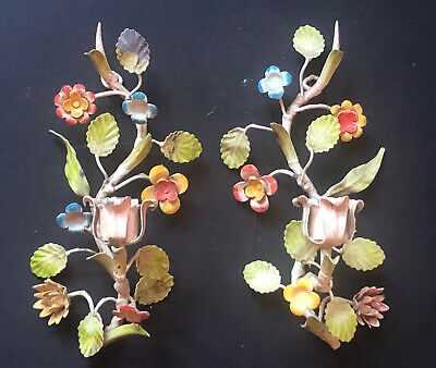 *RARE PAIR Vintage ITALIAN ITALY CANDELABRAS Lights Antique Sconces *FLOWERS