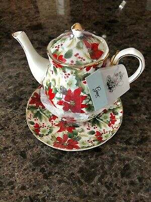 Winter Poinsettia Chintz 4 Piece Tea for One