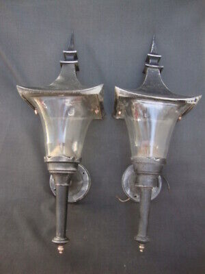 Pair Mid Century Carriage House Light Fixtures Aluminum Italy Wall Sconces Lamps