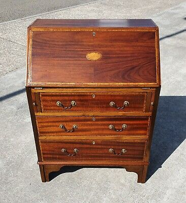 Antique Inlaid Mahogany Bureau / Desk  Repolished  Delivery Available