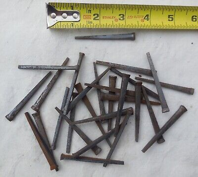 "1 1//2"" Square NAILS 100 lot antique wrought iron look round flat head Brads 1.5/"""