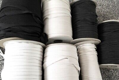 5 METRES GOOD QUALITY FLAT WOVEN ELASTIC BLACK & WHITE 3mm 4mm 6mm 8mm 10mm 12mm