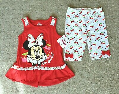 Disney Junior Minnie Mouse with cherries 2-Piece Outfit Girls 5T age 5 years NEW