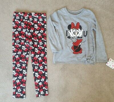 Disney Junior Minnie Mouse 2Piece Outfit Leggings Top Girls 4T age 4 years NEW