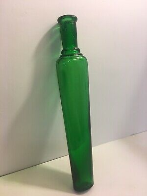 1890's VICTORIAN ERA EMERALD GREEN GLASS TAPERED TOILET WATER COLOGNE PERFUME Q