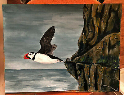 acrylic painting Puffin bird Canadian art Newfoundland native artist 12x9 inch