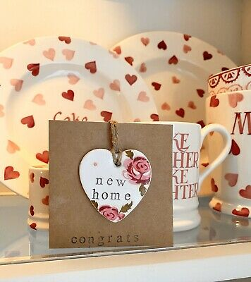 Emma Bridgewater Themed Handmade Clay Greetings Card : New Home - Tiny Rose