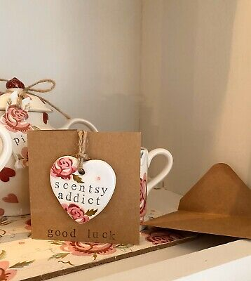 Emma Bridgewater Themed Handmade Clay Greetings Card :Scentsy Addict - Tiny Rose