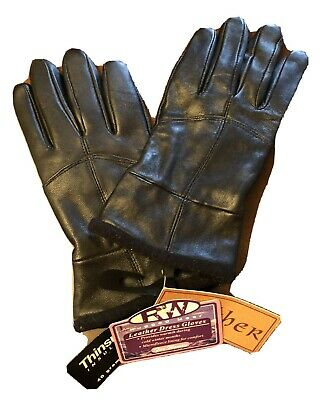 NEW! Women's RW Rugged Wear Black LEATHER Dress Gloves Size Large L  THINSULATE