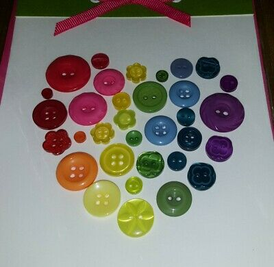 Papyrus RAINBOW HEART OF REAL BUTTONS BLANK ANY OCCASION CARD CUTE ♡