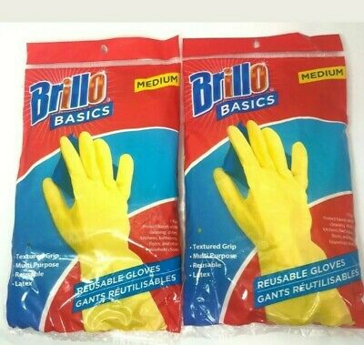 LOT OF (2) Pairs Brillo Basics Reusable Latex Gloves Medium for Protection NEW