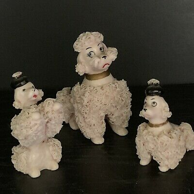Vintage Set of 3 Pink Spaghetti Ceramic Poodles Mom and Puppies Figurines