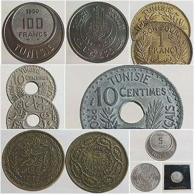 Currencies Tunisia Francs Cents 1918-1957 French Protectorate Choose
