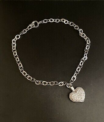 Sterling Silver 925 Signed MK Jewelry Necklace/Heart Pendant /Rhinestone
