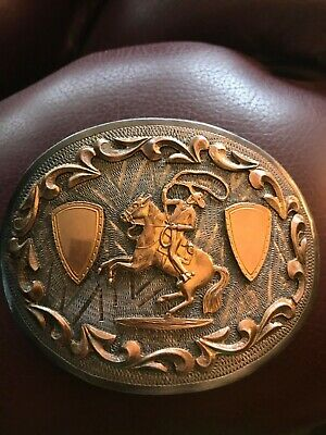 RARE rodeo themed FZR Sterling Silver & 14K Gold Belt Buckle